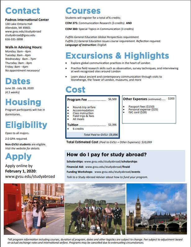 Study Abroad UK 2020 details